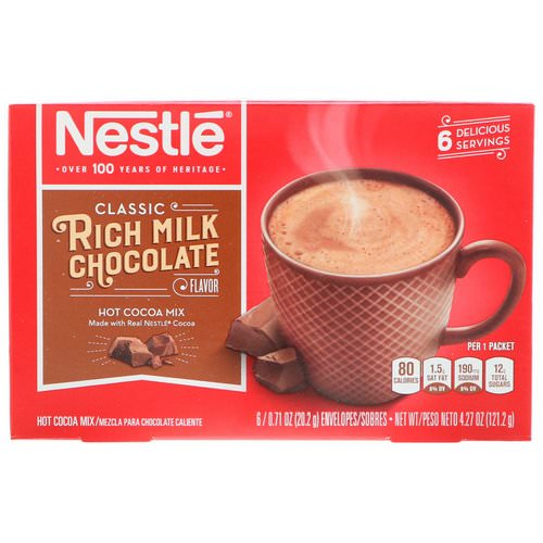 Nestle Hot Cocoa Mix, Rich Milk Chocolate Flavor, 6 Packets, 0.71 oz (20.2 g) Each فوائد