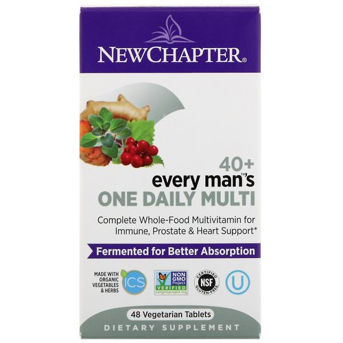 New Chapter, 40+ Every Man's One Daily Multi, 48 Vegetarian Tablets فوائد