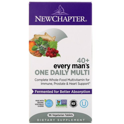 New Chapter, 40+ Every Man's One Daily Multi, 96 Vegetarian Tablets فوائد