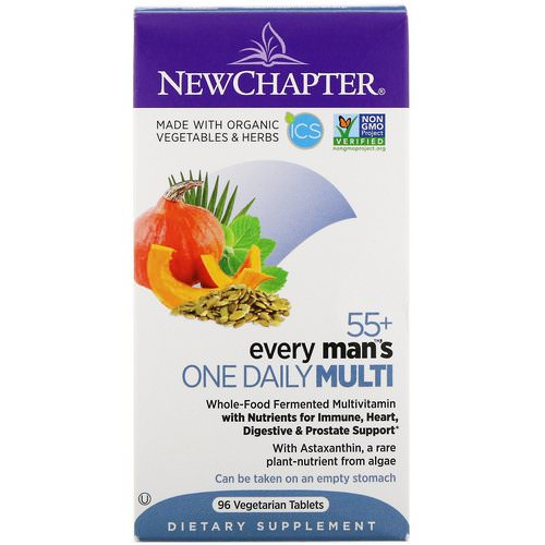 New Chapter, 55+ Every Man's One Daily Multi, 96 Vegetarian Tablets فوائد