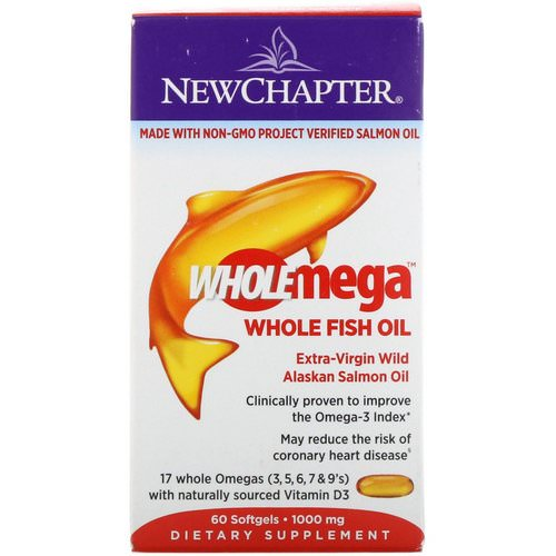 New Chapter, Wholemega, Extra-Virgin Wild Alaskan Salmon, Whole Fish Oil, 1,000 mg, 60 Softgels فوائد