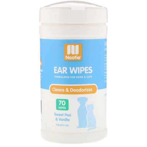 Nootie, Ear Wipes, For Dogs & Cats, Sweet Pea & Vanilla, 70 Wipes فوائد