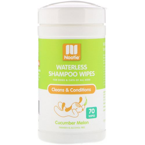 Nootie, Waterless Shampoo Wipes, For Dogs & Cats, Cucumber Melon, 70 Wipes فوائد