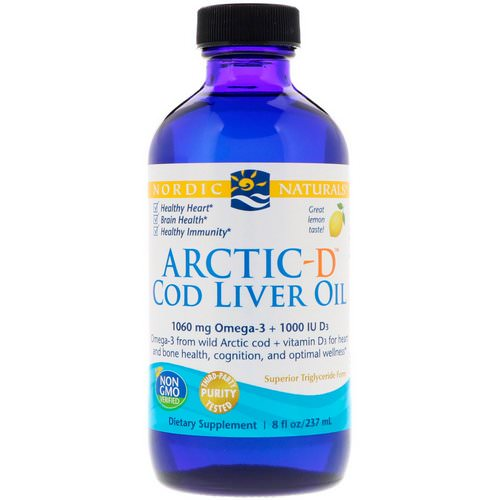 Nordic Naturals, Arctic-D Cod Liver Oil, Lemon, 8 fl oz (237 ml) فوائد