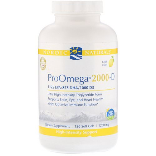 Nordic Naturals, ProOmega 2000-D, Lemon Flavor, 1,250 mg, 120 Soft Gels فوائد
