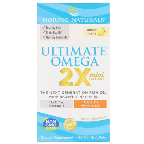 Nordic Naturals, Ultimate Omega 2X with Vitamin D3, Lemon, 60 Mini Soft Gels فوائد
