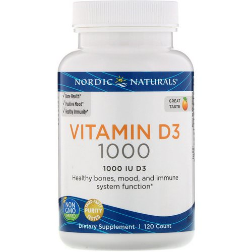 Nordic Naturals, Vitamin D3, Orange, 1000 IU, 120 Count فوائد