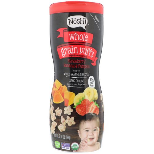 NosH! Baby, Whole Grain Puffs, Organic Cereal Snack, Strawberry, Banana & Pumpkin, 2.10 oz (60 g) فوائد