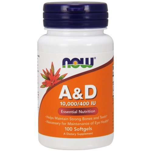 Now Foods, A&D, Essential Nutrition, 10,000/400 IU, 100 Softgels فوائد