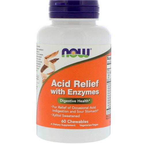Now Foods, Acid Relief with Enzymes, 60 Chewables فوائد