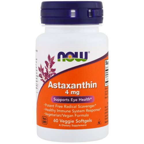 Now Foods, Astaxanthin, 4 mg, 60 Veggie Softgels فوائد