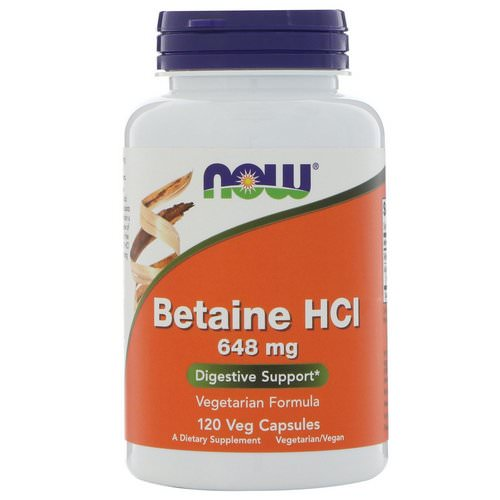 Now Foods, Betaine HCL, 648 mg, 120 Veggie Caps فوائد