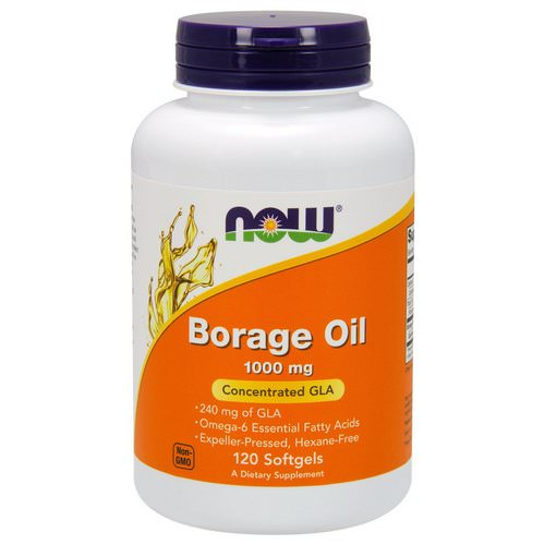 Now Foods, Borage Oil, Concentration GLA, 1,000 mg, 120 Softgels فوائد