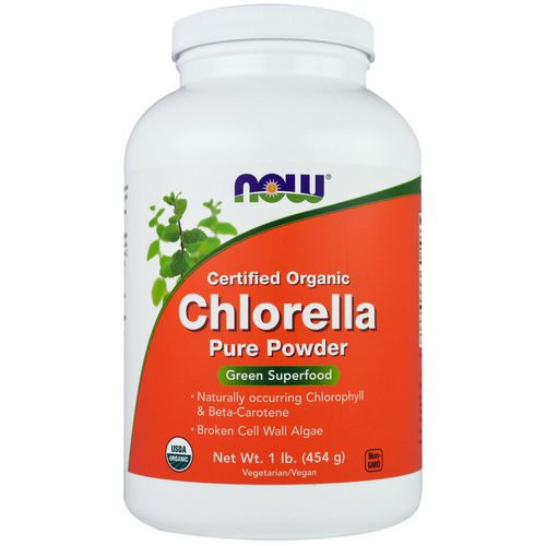 Now Foods, Certified Organic Chlorella, Pure Powder, 1 lb (454 g) فوائد