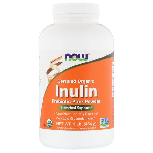 Now Foods, Certified Organic Inulin, Prebiotic Pure Powder, 1 lb (454 g) فوائد