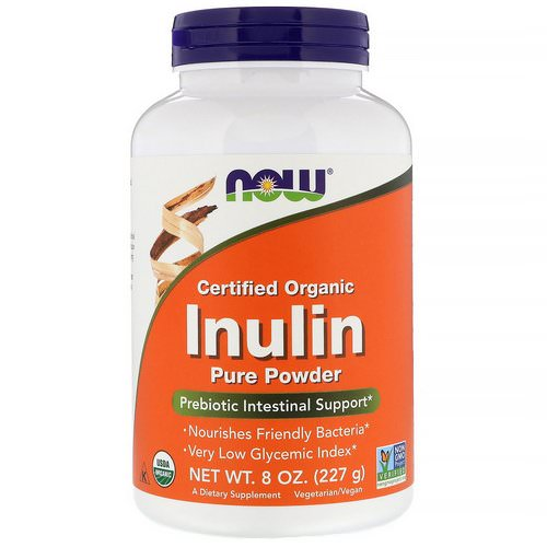 Now Foods, Certified Organic Inulin, Prebiotic Pure Powder, 8 oz (227 g) فوائد