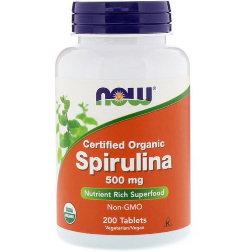 Now Foods, Certified Organic Spirulina, 500 mg, 200 Tablets فوائد