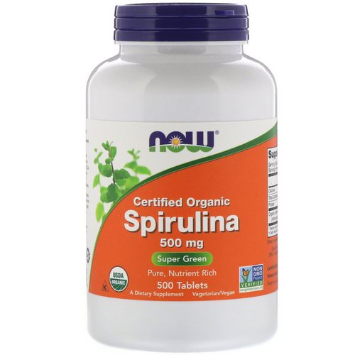 Now Foods, Certified Organic Spirulina, 500 mg, 500 Tablets فوائد