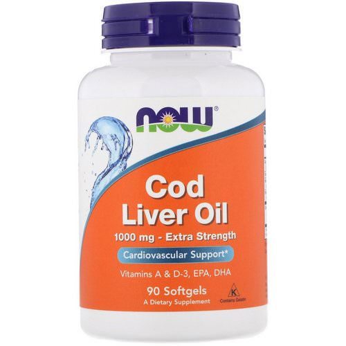 Now Foods, Cod Liver Oil, Extra Strength, 1,000 mg, 90 Softgels فوائد