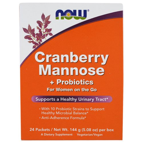 Now Foods, Cranberry Mannose + Probiotics, 24 Packets, (6 g) Each فوائد