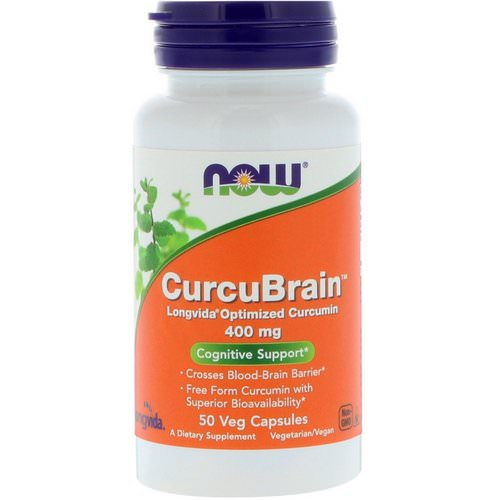 Now Foods, CurcuBrain, Cognitive Support, 400 mg, 50 Veg Capsules فوائد