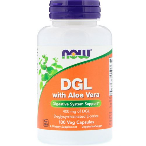 Now Foods, DGL with Aloe Vera, 400 mg, 100 Veg Capsules فوائد