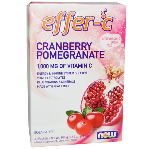 Now Foods, Effer-C, Cranberry Pomegranate, 30 Packets, 5.5 g Each فوائد