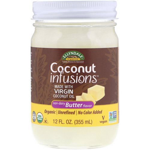 Now Foods, Ellyndale Naturals, Coconut Infusions, Non-Dairy Butter Flavor, 12 fl oz (355 ml) فوائد
