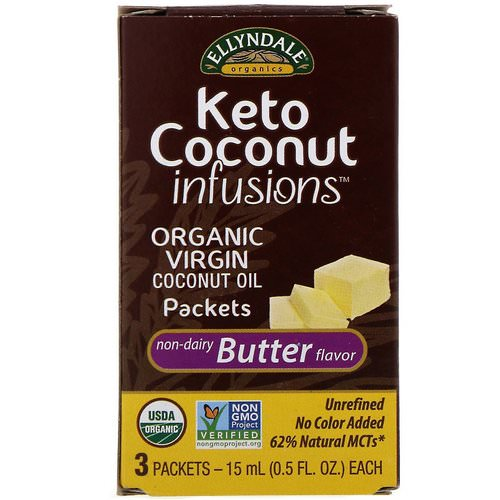 Now Foods, Ellyndale Naturals, Keto Coconut Infusions, Non-Dairy Butter Flavor, 3 Pack, 0.5 fl oz (15 ml) Each فوائد