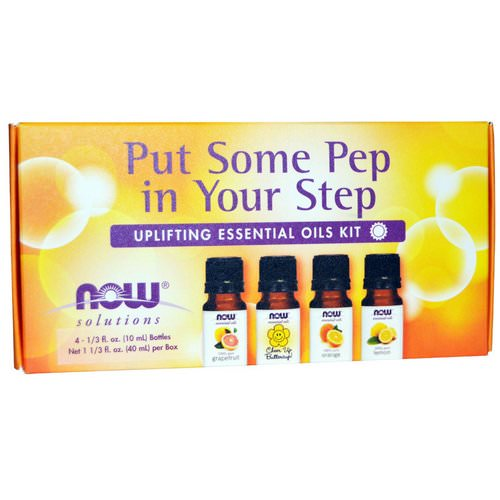 Now Foods, Essential Oils Kit, Put Some Pep in Your Step, Uplifting, 4 Bottles, 1/3 fl oz (10 ml) فوائد