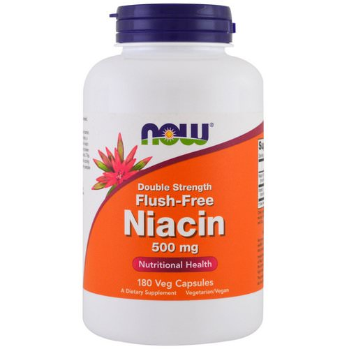 Now Foods, Flush-Free Niacin, Double Strength, 500 mg, 180 Veg Capsules فوائد