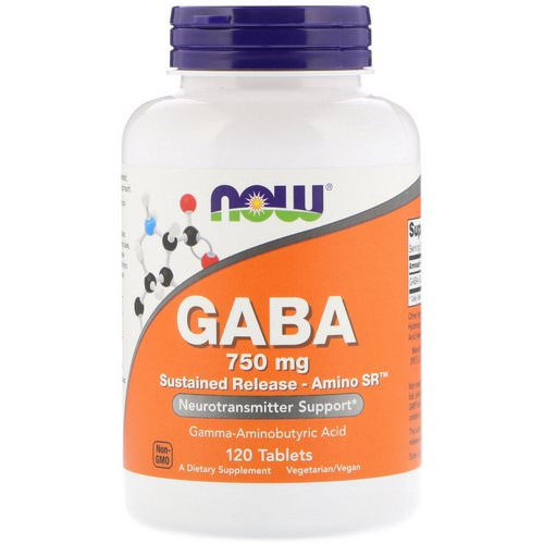 Now Foods, GABA, 750 mg, 120 Tablets فوائد