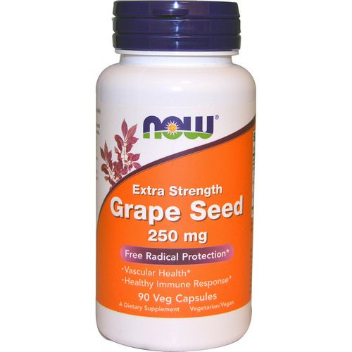 Now Foods, Grape Seed, Extra Strength, 250 mg, 90 Veg Capsules فوائد