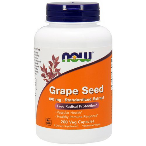 Now Foods, Grape Seed, Standardized Extract, 100 mg, 200 Veg Capsules فوائد