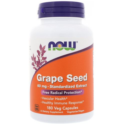 Now Foods, Grape Seed, Standardized Extract, 60 mg, 180 Veg Capsules فوائد