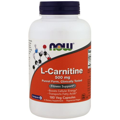 Now Foods, L-Carnitine, 500 mg, 180 Veg Capsules فوائد