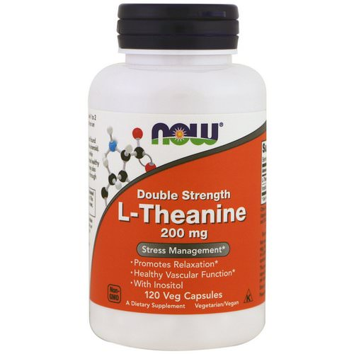 Now Foods, L-Theanine, Double Strength, 200 mg, 120 Veg Capsules فوائد