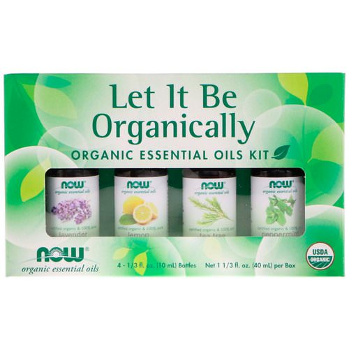 Now Foods, Let It Be Organically, Organic Essential Oils Kit, 4 Bottles, 1/3 fl oz (10 ml) Each فوائد