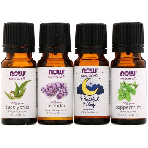 Now Foods, Let There Be Peace & Quiet, Relaxing Essential Oils Kit, 4 Bottles, 1/3 fl oz (10 ml) Each فوائد