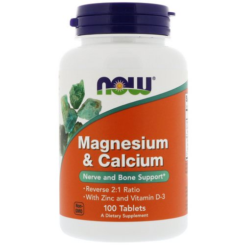 Now Foods, Magnesium & Calcium, Reverse 2:1 Ratio with Zinc and Vitamin D-3, 100 Tablets فوائد
