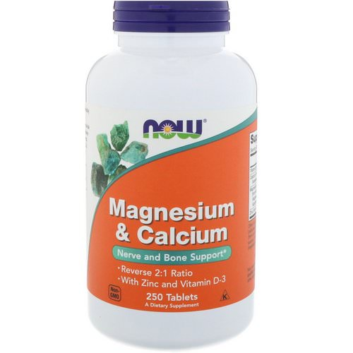 Now Foods, Magnesium & Calcium, Reverse 2:1 Ratio with Zinc and Vitamin D-3 250 Tablets فوائد