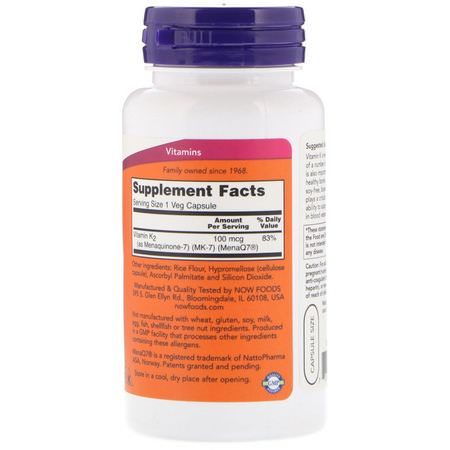 Now Foods, MK-7 Vitamin K-2, 100 mcg, 120 Veg Capsules:فيتامين K, الفيتامينات