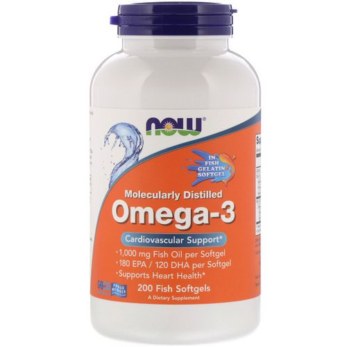 Now Foods, Molecularly Distilled Omega-3, 180 EPA/120 DHA, 200 Fish Softgels فوائد