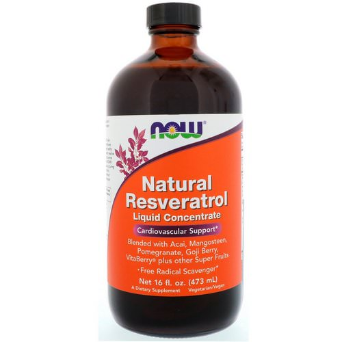 Now Foods, Natural Resveratrol, Liquid Concentrate, 16 fl oz (473 ml) فوائد