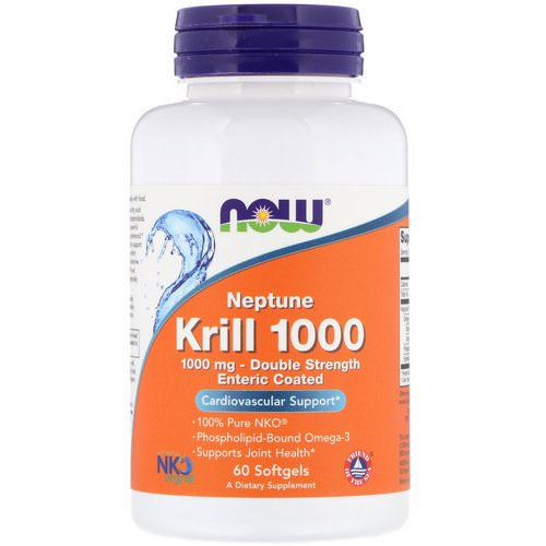 Now Foods, Neptune Krill 1000, Double Strength, 1000 mg, 60 Softgels فوائد