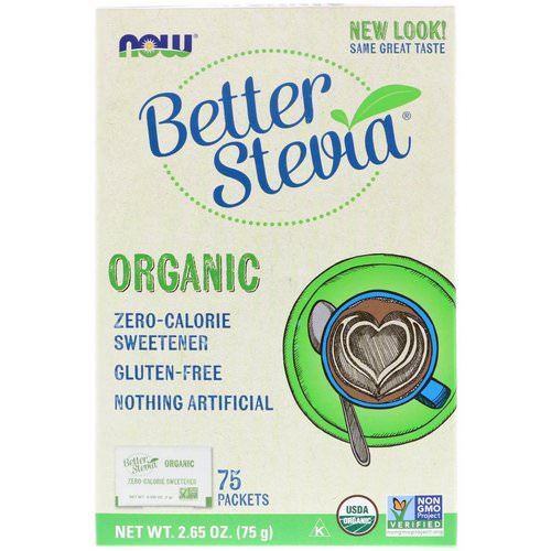Now Foods, Organic Better Stevia, Zero-Calorie Sweetener, 75 Packets, 2.65 oz (75 g) فوائد