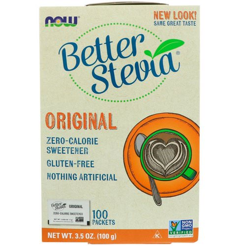 Now Foods, Organic Better Stevia, Zero-Calorie Sweetener, Original, 100 Packets, 3.5 oz (100 g) فوائد