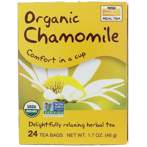 Now Foods, Organic Real Tea, Chamomile, 24 Tea Bags, 2 g Each فوائد