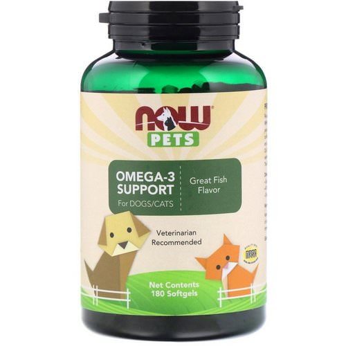 Now Foods, Pets, Omega-3 Support for Dogs/Cats, Great Fish Flavor, 180 Softgels فوائد