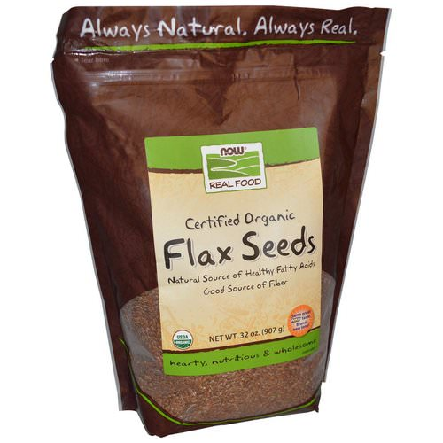 Now Foods, Real Food, Certified Organic Flax Seeds, 2 lbs (907 g) فوائد
